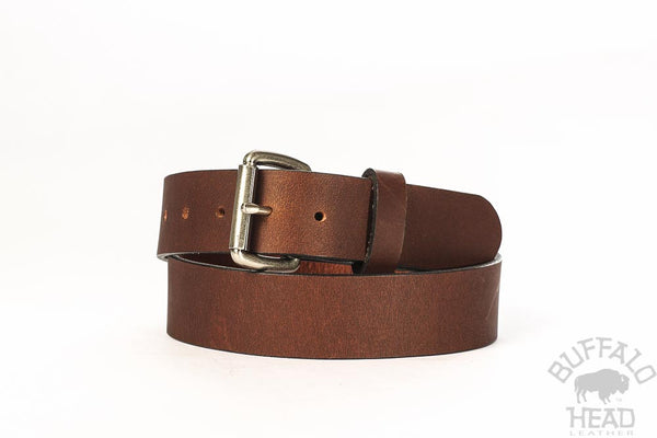 "Full Grain Buffalo casual belt 1 1/2"" - Mahogany with Antique Nickel Buckle- Hand made in USA - Free Shipping"