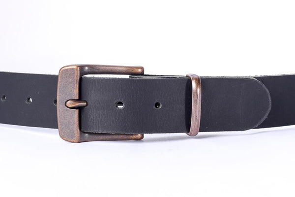 "Full Grain Genuine Buffalo 1 1/2"" wide leather belt black with copper buckle"