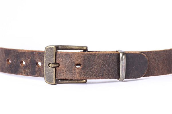"Full Grain Genuine Buffalo Distressed Leather 1 1/4 "" Wide casual belt Antique Brass Buckle Free Shipping"