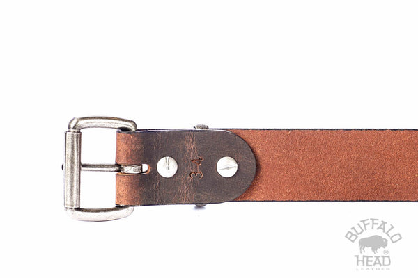 "Full Grain Genuine Buffalo Leather Casual Belt - Brown - 1 1/2"" Wide - Antique Nickel Roller Buckle and  - Made in USA -  Free Shipping"