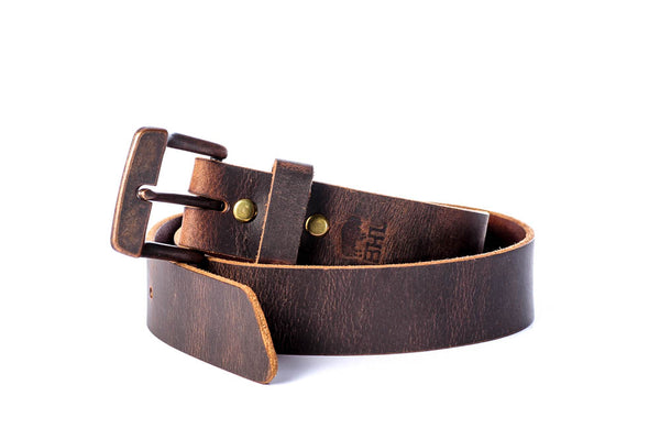 "Full Grain Genuine Buffalo Distressed Brown w/ Copper Buckle 1 1/2"" wide Unisex"