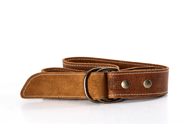 Genuine Buffalo Brown Distressed D Ring Belt Wheat Stitching with Brass Rings