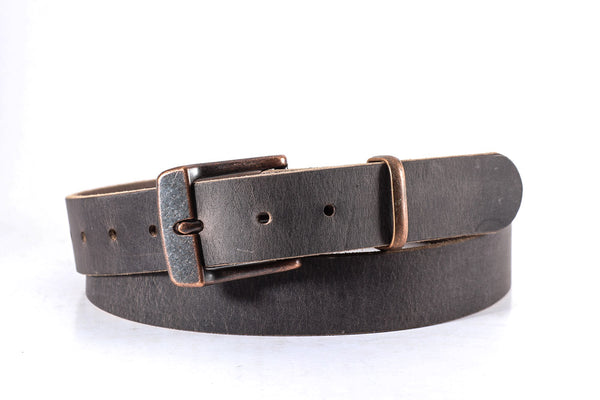 "Distressed gray buffalo leather with copper buckle 1 1/4"" wide size 40 one only"