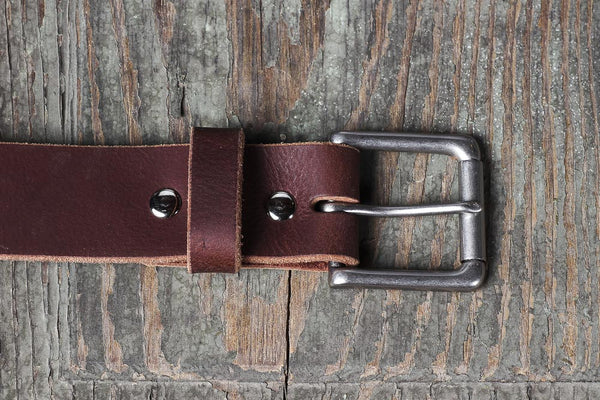 "Full Grain Buffalo Casual Belt 1 1/2"" Mahogany Antique Nickel Buckle Hand made in USA"