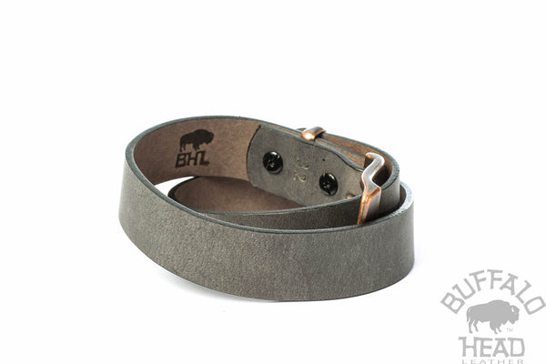 "Full Grain Genuine Buffalo Distressed Gray w/Copper Buckle and Keeper 1 1/4"" Wide Hand Made"