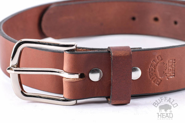 "English Bridle Leather Thick 10 ounce Heavy Duty Work/Dress/Carry Belt 1 1/2 "" Wide, Rich Brown, Chrome Buckle Free Shipping"