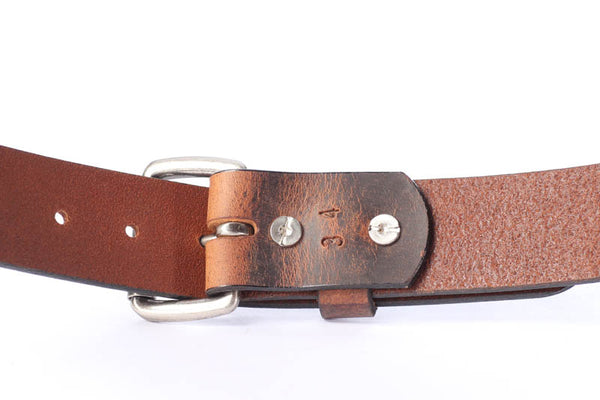 "Full Grain Genuine Buffalo Distressed Leather Belt  Brown  1 1/2"" Nickel Roller Buckle"