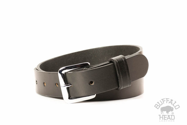 "English Bridle Leather 1 1/4"" Dress/Casual belt - Classic Black - Hand Made in USA - Free Shipping"