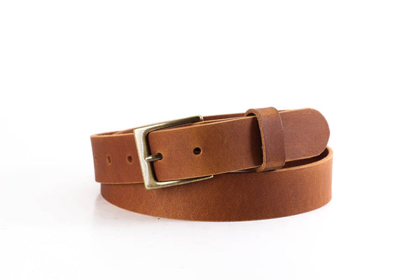 "Full Grain Genuine Buffalo Leather Russet Color 1 1/4"" Wide Dress or Casual Belt"