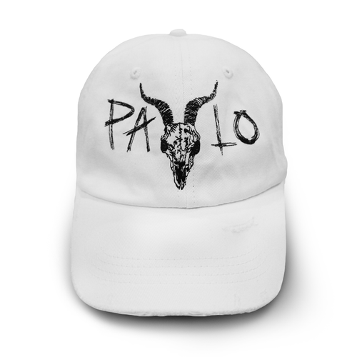 Distressed Goat Head Cap (White)