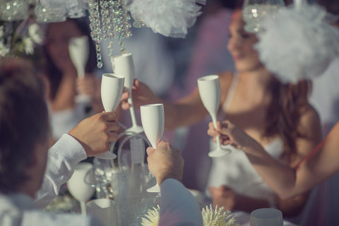 White Unbreakable Plastic Wine Glass for Diner en Blanc