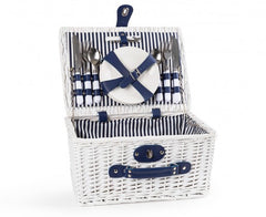 White Picnic Basket for Diner en Bblanc