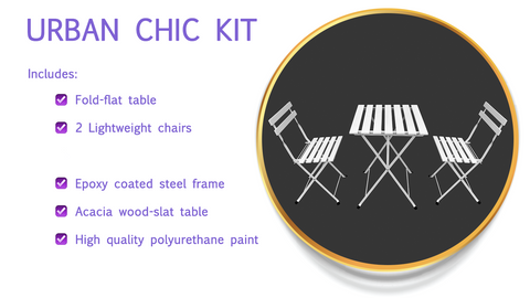 Table & Chairs - Urban Chic Set for Diner en Blanc