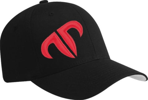 Rank Bull Icon V-Flexfit Cotton Twill Cap in Black with Red Logo