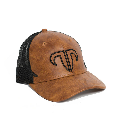 Rank Bull Icon Y Trucker Cap in Leather Brown and Black