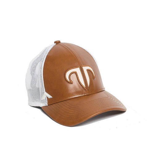 Rank Bull Icon Y Trucker Cap in Leather Brown and White