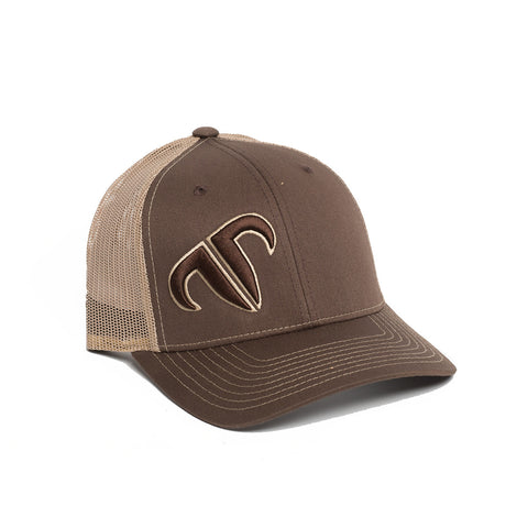Rank Bull Icon 112 Trucker Cap in Brown and Khaki
