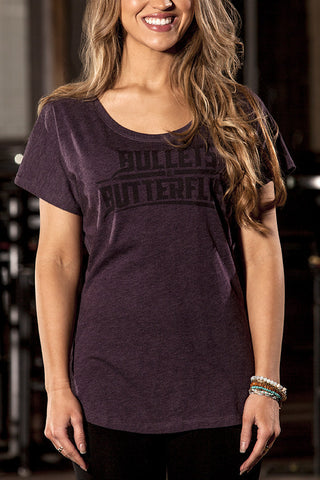 Bullets & Butterflies Corpo Dolman Women's T-Shirt in Vintage Purple