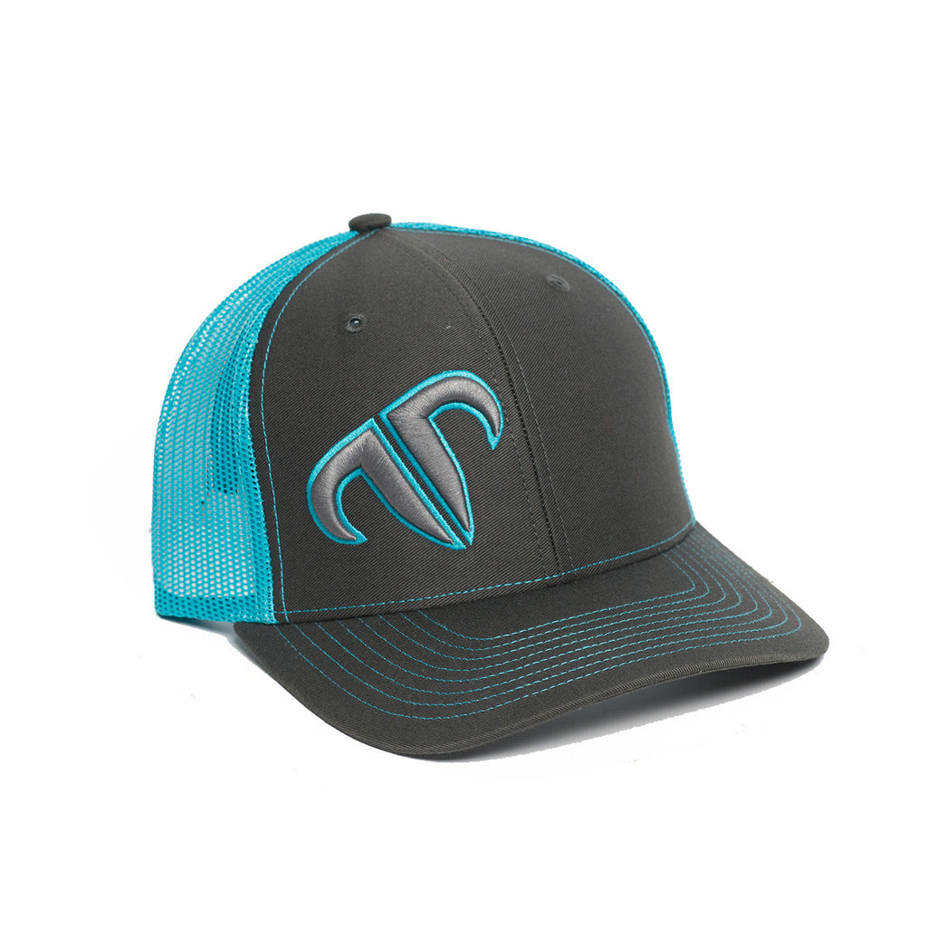 Rank Bull Icon 112 Trucker Cap in Charcoal and Neon Blue
