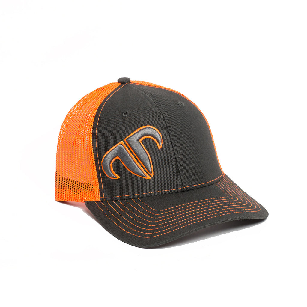 Rank Bull Icon 112 Trucker Cap in Charcoal and Neon Orange