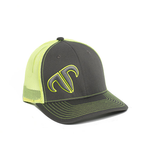 Rank Bull Icon 112 Trucker Cap in Charcoal and Neon Yellow