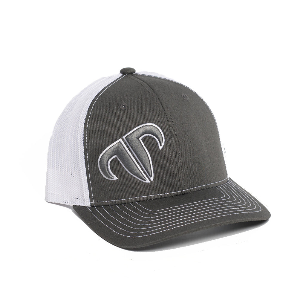 Rank Bull Icon 112 Trucker Cap in Charcoal and White
