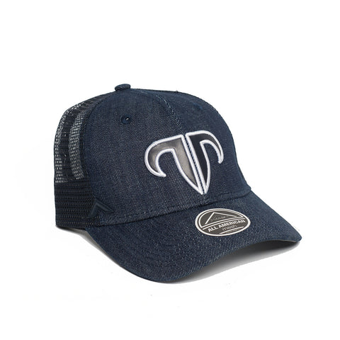 Rank Bull Icon Y Trucker Cap in Denim Navy Blue and Mesh