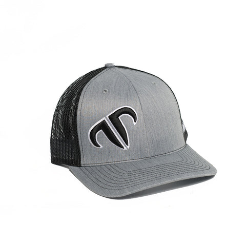 Rank Bull Icon 112 Trucker Cap in Heather Grey and Black