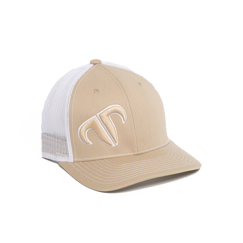 Rank Bull Icon 112 Trucker Cap in Khaki and White