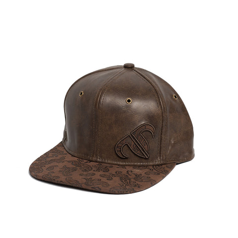 Rank Bull Icon Y Leather Snapback Cap in Brown
