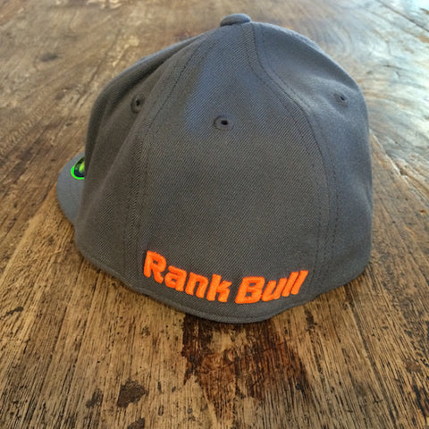Rank Bull Icon Premium Flexfit 210 Cap in Charcoal with Neon Orange Logo