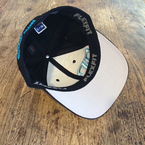 Rank Bull Hat in Black with Cyan Logo