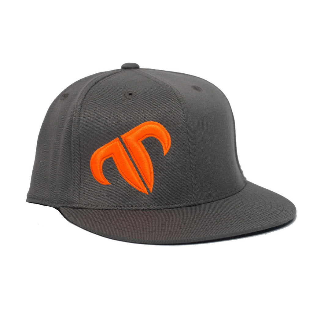 Rank Bull Icon Premium Flexfit 210 Charcoal Cap Neon Orange Logo - Country Lifestyle Brand