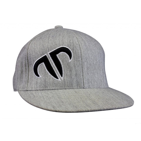 Rank Bull Icon Premium Flexfit 210 Cap in Heather Grey with Black and White Logo