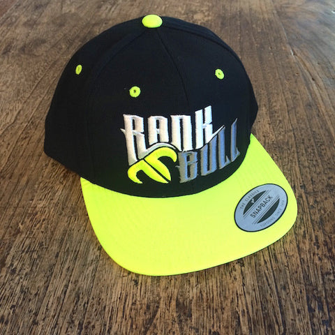 Rank Bull Snap Lite Pro-Style Wool Blend Flexfit Cap in Black and Yellow Front Detail
