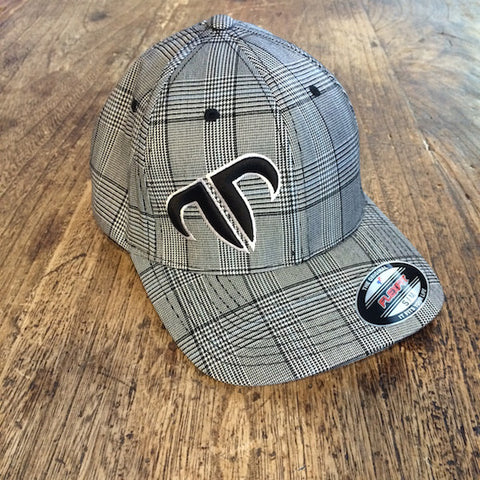 Rank Bull Icon Flexfit Cap in Black and White Glen Check
