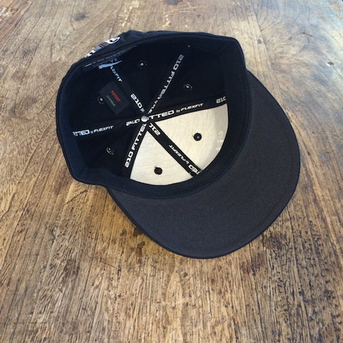 Rank Bull Hat in Black with White Script