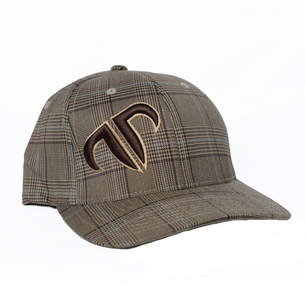 Rank Bull Icon Flexfit Cap in Brown and Khaki Glen Check with Brown and Khaki Logo Hat - Country Lifestyle Brand