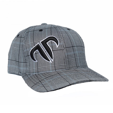 Rank Bull Icon Flexfit Cap in Black and White Glen Check with Black and White Logo