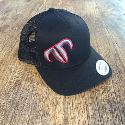 Rank Bull Icon Trucker Cap in Black with Red and Charcoal Logo Detail