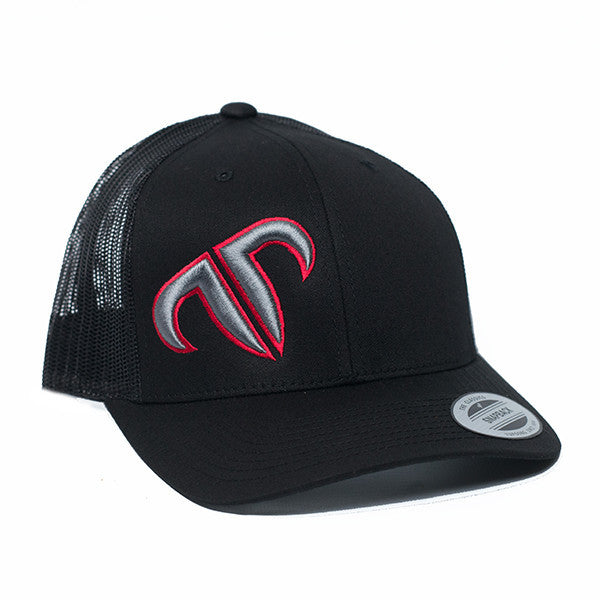 Rank Bull Icon Trucker Cap in Black with Red and Charcoal Logo Hat - Country Lifestyle Brand