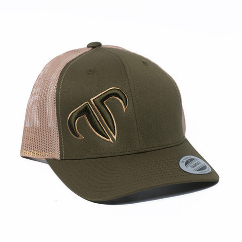 Rank Bull Icon Trucker Cap in Khaki and Moss