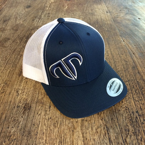 Rank Bull Icon Trucker Cap in Navy and White