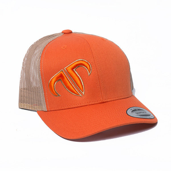 Rank Bull Icon Trucker Cap in Orange and Khaki Hat - Country Lifestyle Brand