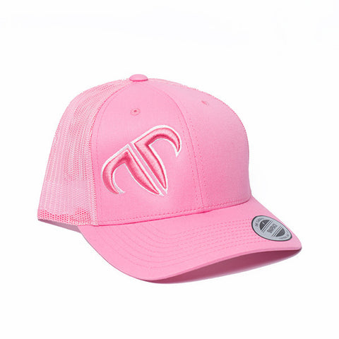 Rank Bull Icon Trucker Cap in Pink with Pink Logo