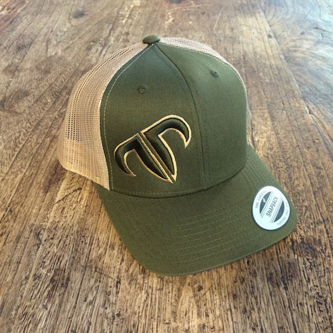 Rank Bull Icon Trucker Cap in Khaki and Moss Detail