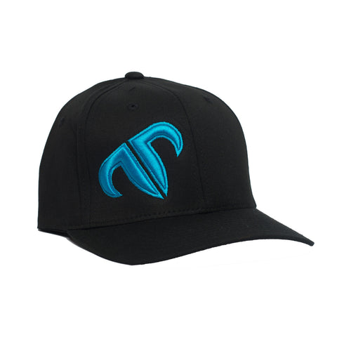Rank Bull Icon V-Flexfit Cotton Twill Cap in Black with Cyan Logo