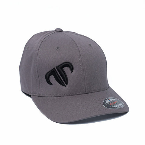 Rank Bull Icon V-Flexfit Cotton Twill Cap in Charcoal with Black Logo Hat - Country Lifestyle Brand