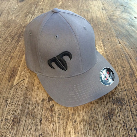 Rank Bull Icon V-Flexfit Cotton Twill Cap in Charcoal with Black Logo