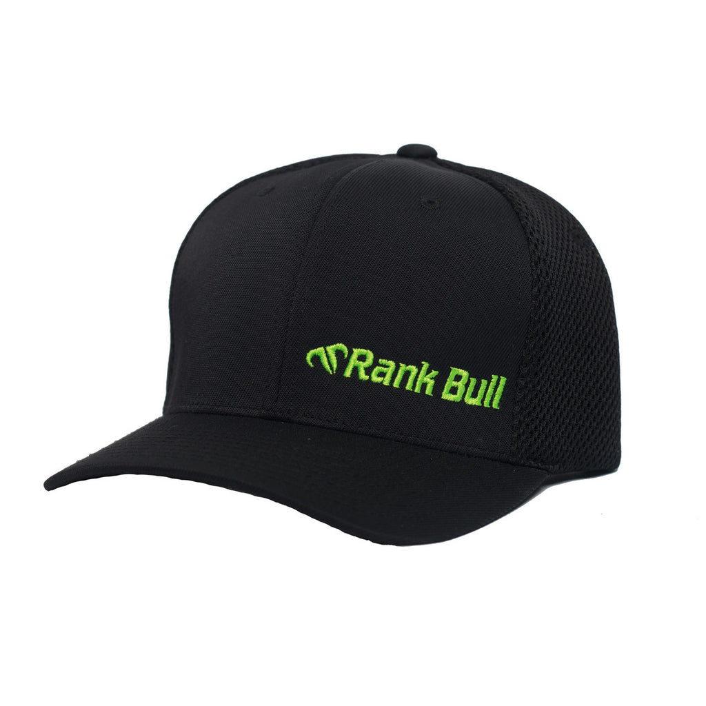 Rank Bull Mini-Corpo Flexfit Ultrafibre Cap in Black with Neon Green Logo Hat - Country Lifestyle Brand